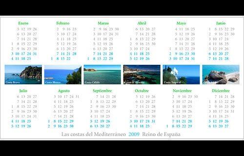 Las costas del Mediterráneo (календарь на 2009 год)